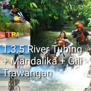 tour lombok 3 hari 2 malam, river tubing, mandalika, gili trawangan
