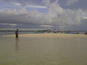 pulau pasir di pantai pink
